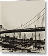 Ben Franklin Bridge From The Marina In Black And White. Metal Print by Bill Cannon