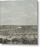 Birds-eye View Of Pittsburgh Metal Print by Everett