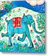 Blue Elephant Facing Right Metal Print by Sushila Burgess