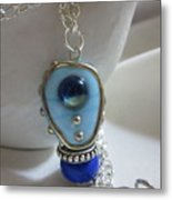 Blue Space Necklace Metal Print by Janet  Telander