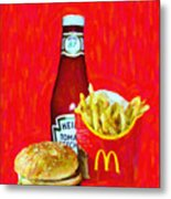 Burger Fries And Ketchup Metal Print by Wingsdomain Art and Photography