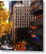 Cablecar On San Francisco California Street  . Painterly . 7d7176 Metal Print by Wingsdomain Art and Photography