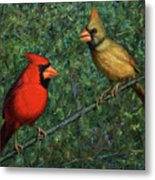 Cardinal Couple Metal Print by James W Johnson