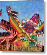 Carnival - A Most Colorful Ride Metal Print by Mike Savad