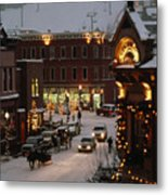 Carriage And Slded On Snowy Steets Metal Print by Paul Chesley