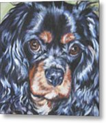 Cavalier King Charles Spaniel Black And Tan Metal Print by Lee Ann Shepard