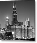 Chicago Night Skyline In Black And White Metal Print by Paul Velgos