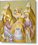 Christ And The Samaritan Woman Metal Print by Julia Bridget Hayes
