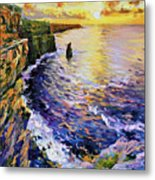 Cliffs Of Moher At Sunset Metal Print by Conor McGuire