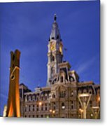 Clothespin And City Hall Metal Print by John Greim