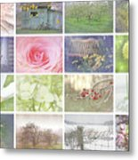 Collage Of Seasonal Images With Vintage Look Metal Print by Sandra Cunningham