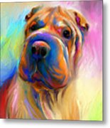 Colorful Shar Pei Dog Portrait Painting  Metal Print by Svetlana Novikova