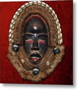 Dean Gle Mask By Dan People Of The Ivory Coast And Liberia On Red Velvet Metal Print by Serge Averbukh