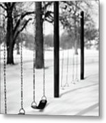 Deep Snow & Empty Swings After The Blizzard Metal Print by Trina Dopp Photography