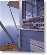 Desolation Peak Fire Lookout Cabin Sign Metal Print by David Pluth
