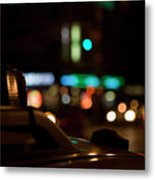 Detail Of A Taxi At Night, New York City, Usa Metal Print by Frederick Bass