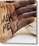 Dirty Hand With Soap Metal Print by Blink Images