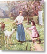 Easter Eggs In The Country Metal Print by Victor Gabriel Gilbert