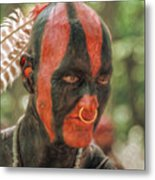 Eastern Woodland Indian Portrait Metal Print by Randy Steele
