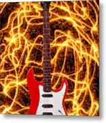 Electric Guitar With Sparks Metal Print by Garry Gay