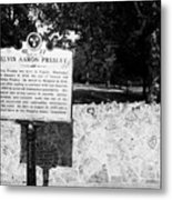 Elvis Presley Marker Nameplate And Low Wall Outside Graceland Memphis Tennessee Usa Metal Print by Joe Fox