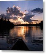 Evening Paddle On Spoon Lake Metal Print by Larry Ricker