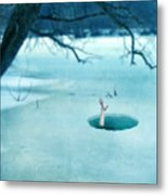Fallen Through The Ice Metal Print by Jill Battaglia