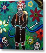 Firefighter Day Of The Dead Metal Print by Pristine Cartera Turkus