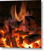 Fireplace Flames Metal Print by Francisco Leitao