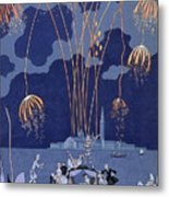 Fireworks In Venice Metal Print by Georges Barbier