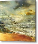Flight Of The Seagulls Metal Print by Anne Weirich