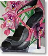 Fuchsia Orchid Colour Block Metal Print by Karon Melillo DeVega