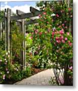 Garden With Roses Metal Print by Elena Elisseeva