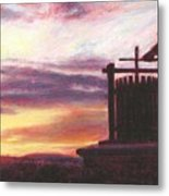 Grape Crusher Napa Valley Sunset Metal Print by Takayuki Harada