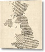 Great Britain Uk Old Sheet Music Map Metal Print by Michael Tompsett