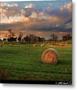 Haybales At Dusk Metal Print by Melinda Swinford