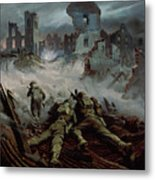 Highlanders Advancing To Caen Metal Print by Orville Norman Fisher