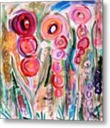 Hollyhocks Of The Garden Metal Print by Mary Carol Williams