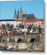 Hradcany - Cathedral Of St Vitus And Charles Bridge Metal Print by Michal Boubin