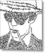 Hunter S. Thompson Black And White Word Portrait Metal Print by Kato Smock