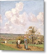 In The Fields Metal Print by Camille Pissarro