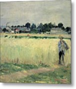 In The Wheatfield At Gennevilliers Metal Print by Berthe Morisot