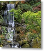 Japanese Garden Waterfall Metal Print by Sandra Bronstein