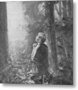Joseph Smith Praying In The Grove Metal Print by Lewis A Ramsey