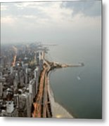Lake Michigan And Chicago Skyline. Metal Print by Ixefra