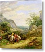 Landscape With Figures And Cattle Metal Print by James Leakey
