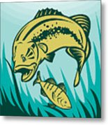 Largemouth Bass Preying On Perch Fish Metal Print by Aloysius Patrimonio