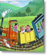 Little Happy Pigs On Train Journey Metal Print by Martin Davey