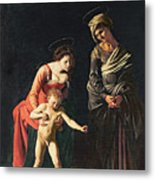 Madonna And Child With A Serpent Metal Print by Michelangelo Merisi da Caravaggio