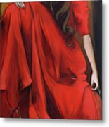 Magnolia's Red Dress Metal Print by Jacque Hudson